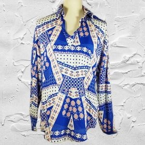 Sugar + Lips Blue Long Sleeve Pull Over Blouse S